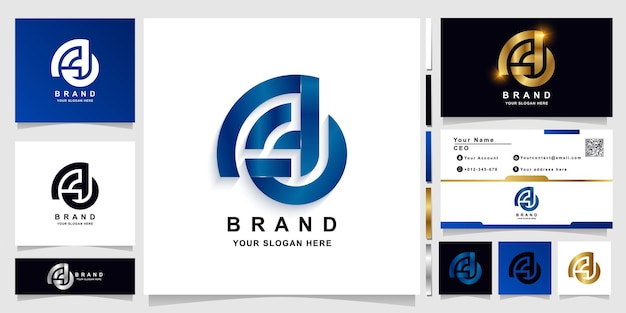 Letter aa or a monogram logo template with business card design