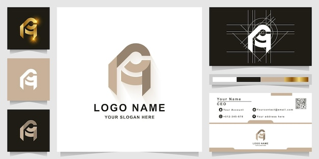 Letter a or aa monogram logo template with business card design