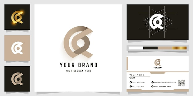 Letter a or aa monogram logo with business card design