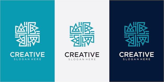 Letter ab community logo design concept. community logo design inspiration with business card