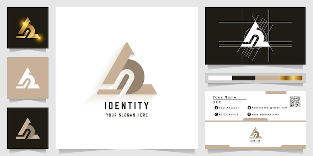 Letter a or ab monogram logo with business card design