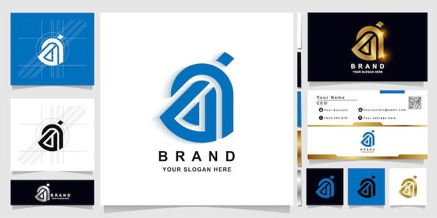 Буква ab или bia вензель шаблон логотипа с дизайном визитной карточки