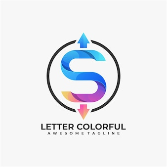 Letter abstract logo design modern colorful Premium Vector