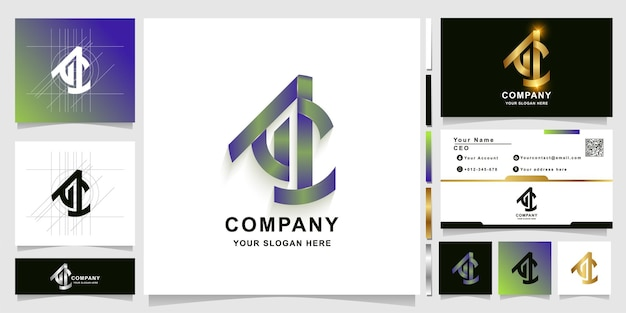 Letter ac or ac1 monogram logo template with business card design
