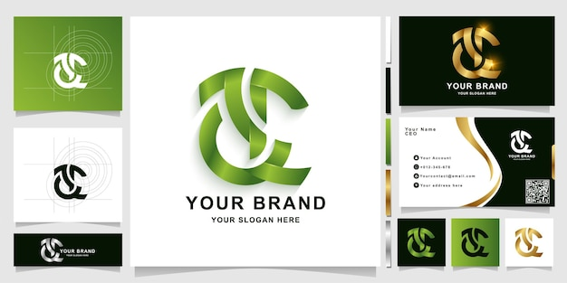 Letter ac or ae monogram logo template with business card design
