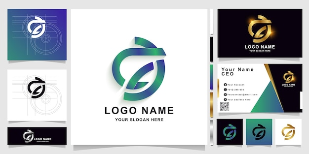 Letter ac or ca monogram logo template with business card design