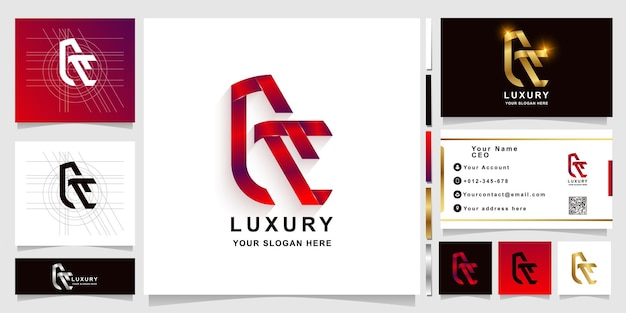 Letter ac or ce monogram logo template with business card design