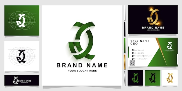 Letter ac or gc monogram logo template with business card design