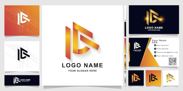 Letter ac or ie monogram logo template with business card design
