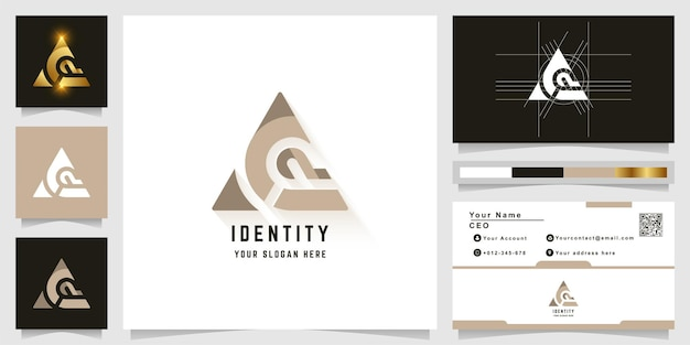 Letter a or ac monogram logo with business card design