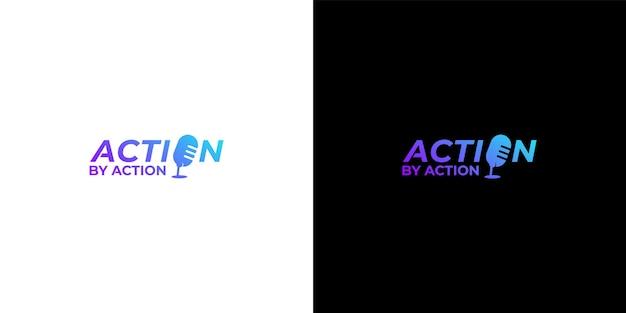 Letter action podcast logo design