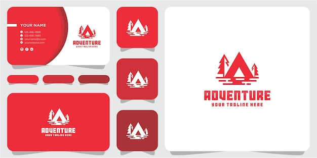 Letter a adventure logo design template with business card