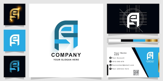 Letter a or ae monogram logo template with business card designmplate with business card design