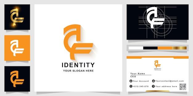 Letter af or like bird monogram logo template with business card design