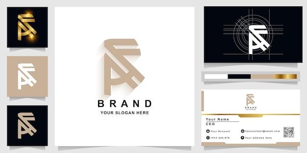 Letter af or a monogram logo template with business card design