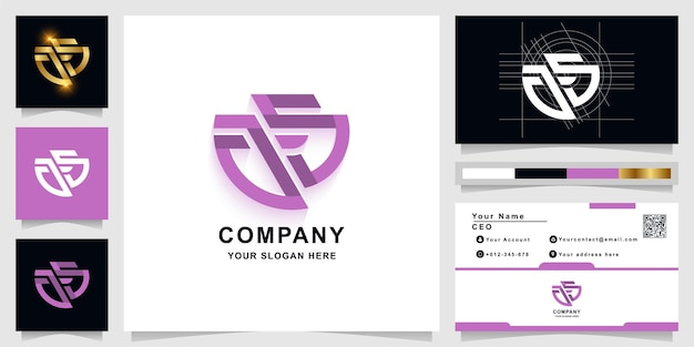 Letter ag or as monogram logo template with business card design