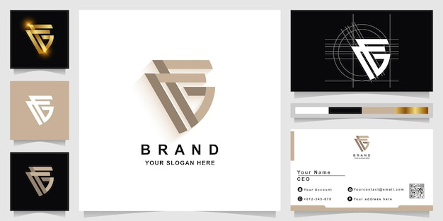 Letter ag or cg monogram logo template with business card design