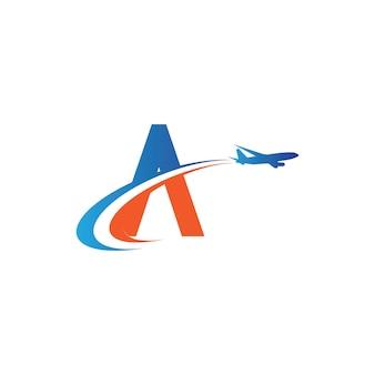 Letter a air travel logo design template-vector