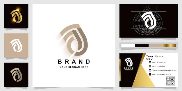 Letter aj or aa monogram logo template with business card design