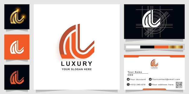 Letter al or ul monogram logo template with business card design