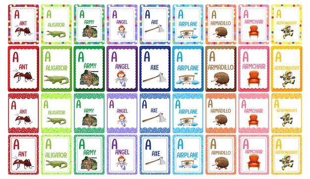 Set di flashcard alfabeto lettera a