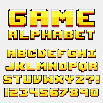 Letter alphabet pixel retro video game style