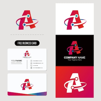 Letter alphabet a rounded logo free business card
