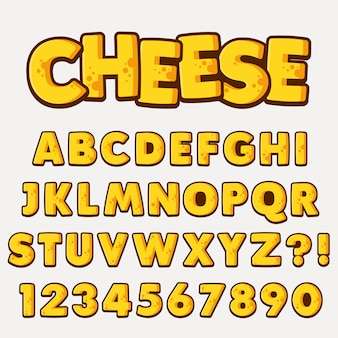Letter alphabet with numbers cheese style