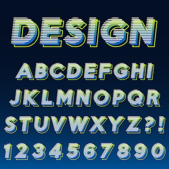 Letter alphabet with numbers modern effect design
