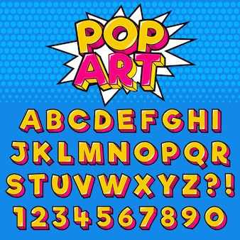 Letter alphabet with numbers pop art style design