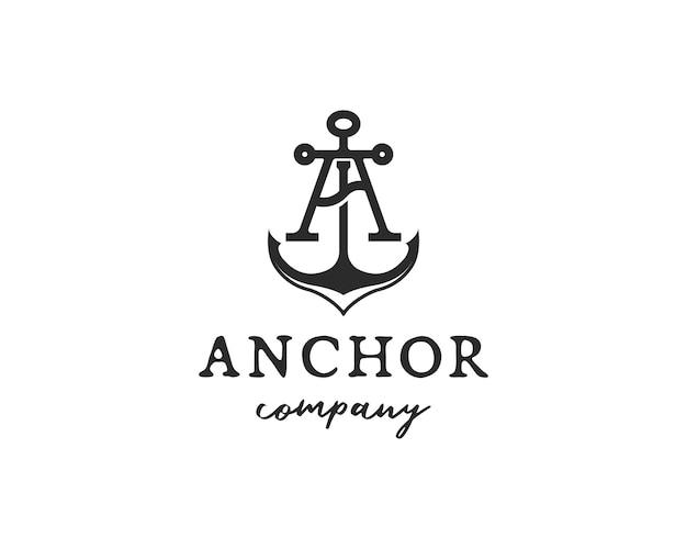 Letter a anchor maritime vintage marine logo concept of heavy water transportation navy logo design