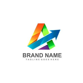 Letter a arrow logo design