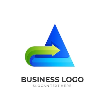 Letter a arrow logo, letter a and arrow, combination logo with 3d blue and green color style