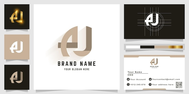 Letter au or aj monogram logo with business card design