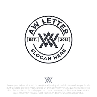 Letter aw badge logo template vector