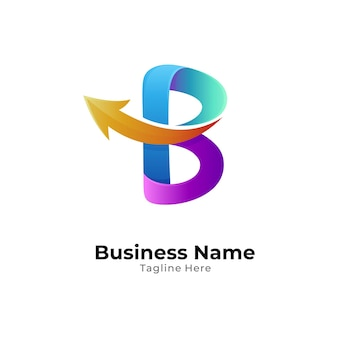 Letter b and arrow logo template