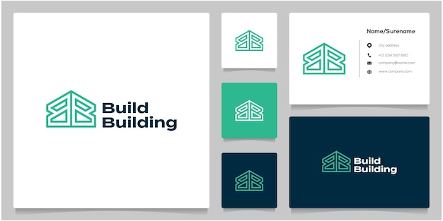 Letter b or bb geometric style home building logo design with business card