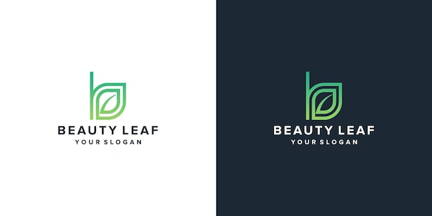 Letter b beauty leaf logo