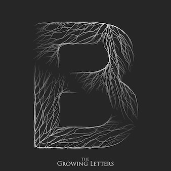 Letter b of branch or cracked alphabet. b symbol consisting of growing white lines.