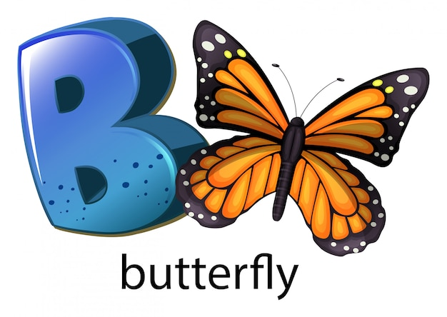 A letter b for butterfly