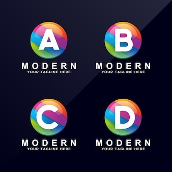 Letter a, b, c, d colorful modern logo