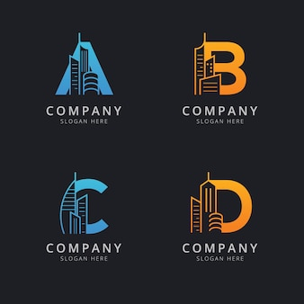 Letter a b c and d with abstract building logo template