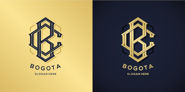 Letter b and c logo decorative style