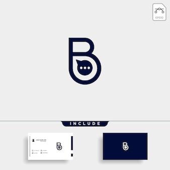 편지 b 채팅 토크 로고 템플릿 벡터 디자인 메시지 아이콘