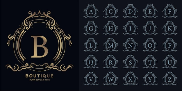Letter b or collection initial alphabet with luxury ornament floral frame golden logo template.