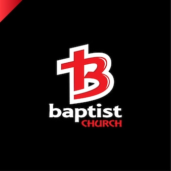 Letter b and cross church of jesus christ logo