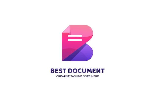 Letter b document file logo template