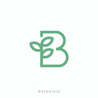 식물 또는 바이오 로고 디자인을위한 문자 b