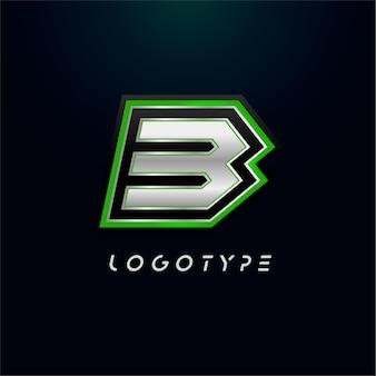 ビデオゲームのロゴとスーパーヒーローのモノグラムスポーツゲームのエンブレムの文字b大胆な未来的な文字