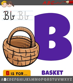 Letter b from alphabet with cartoon basket object